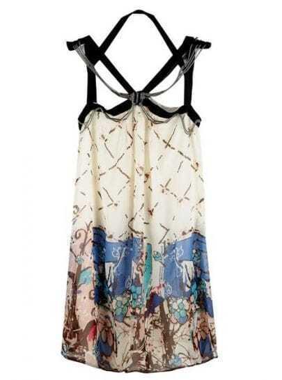 Blue Street Spaghetti Strap Polyester Print Dress