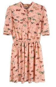 Pink Short Sleeve Polyester Elastic Vintage Print Dress