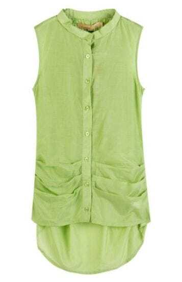 Green Sleeveless Pleated Ruched Back Slim Dipped Hem Shirt