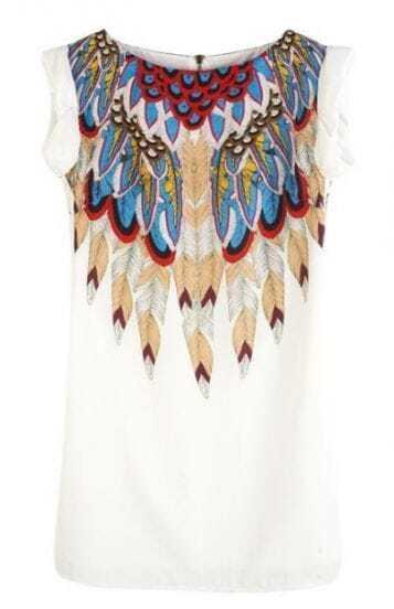 White Round Neck Sleeveless Feather Print Polyester Dress