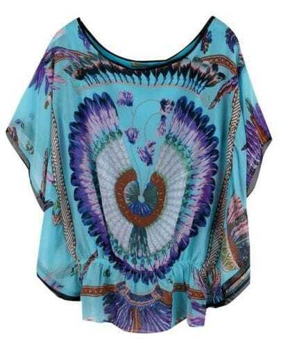 Blue Batwing Short Sleeve Feather Print Peplum Blouse