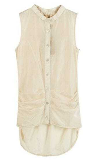 Beige Sleeveless Pleated Ruched Back Slim Dipped Hem Shirt