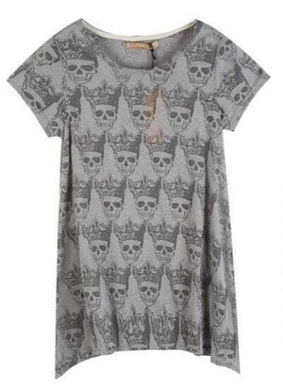 Grey Round Neck Short Sleeve Skull Hi-lo Hem T-Shirt