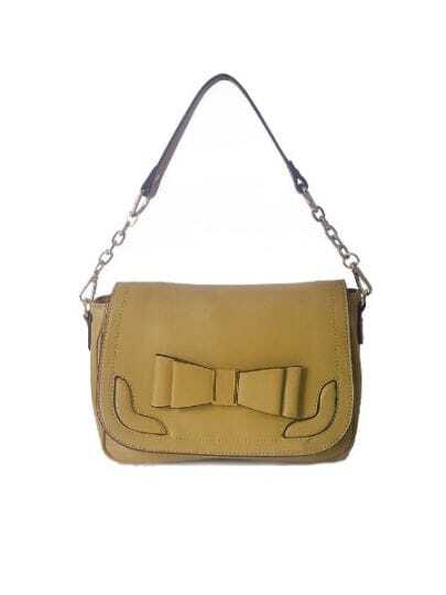 Camel Solid Vintage Leather Bow Shoulder Bag