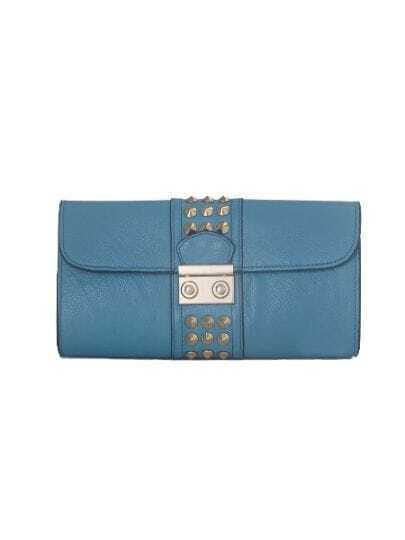 Blue Leather Studded Chain Punk Satchels
