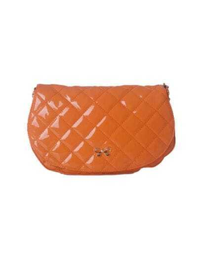 Orange Solid PU Argyle Bow Vintage Satchels