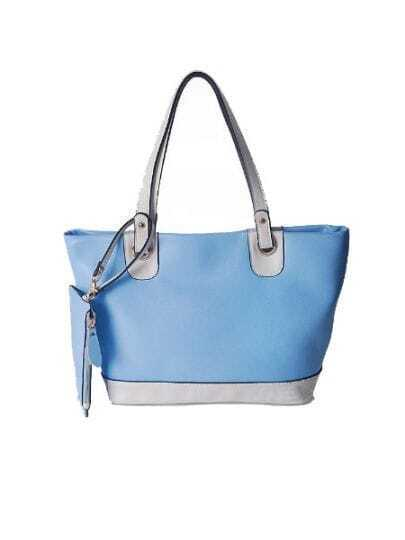 Blue Solid Vintage Leather Color Block Shoulder Bag
