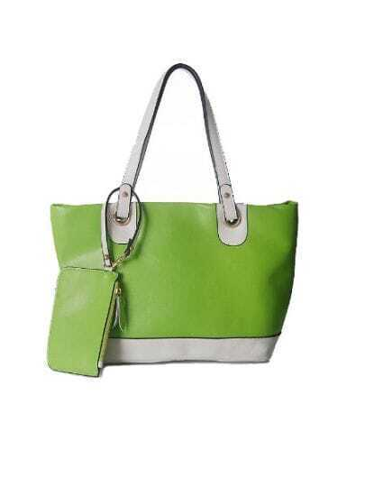 Green Solid Vintage Leather Color Block Shoulder Bag