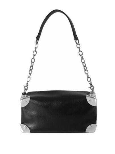 Black Solid Leather Chain Punk Shoulder Bag