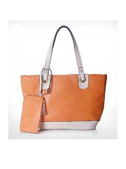 Orange Solid Vintage Leather Color Block Shoulder Bag