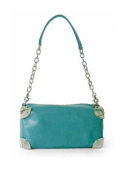 Blue Solid Leather Chain Punk Shoulder Bag