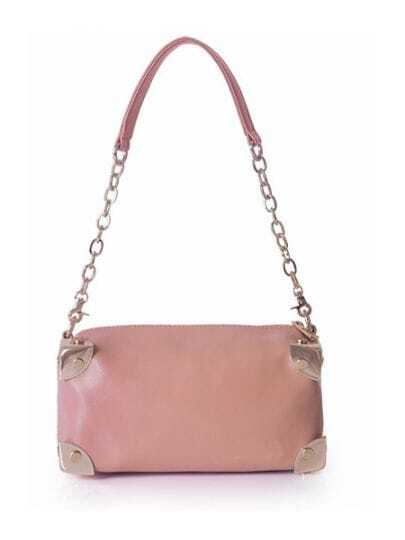 Pink Solid Leather Chain Punk Shoulder Bag