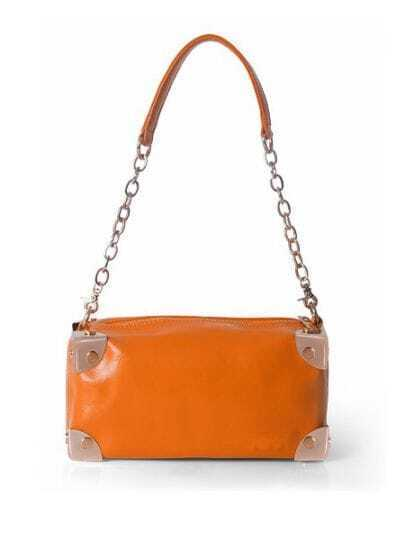 Orange Solid Leather Chain Punk Shoulder Bag