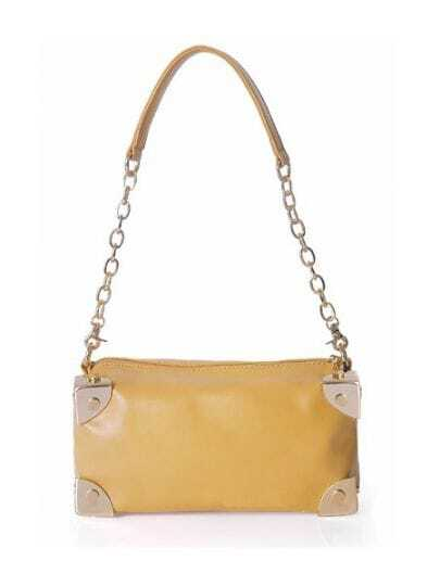 Camel Solid Leather Chain Punk Shoulder Bag
