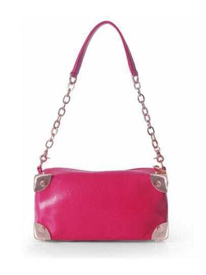 Rose Red Solid Leather Chain Punk Shoulder Bag
