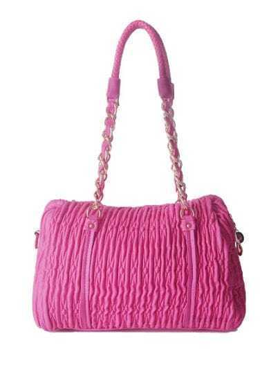 Pink Solid PU Fold Chain casual Shoulder Bag