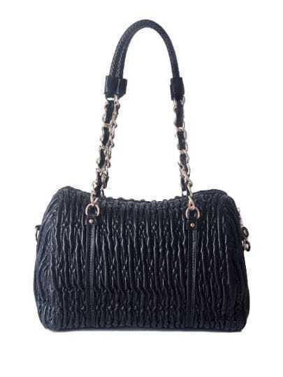 Black Solid PU Fold Chain casual Shoulder Bag