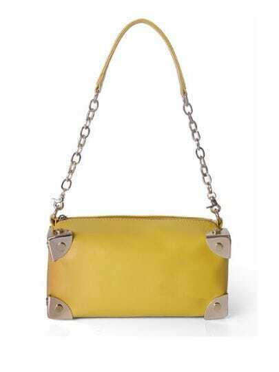 Yellow Solid Leather Chain Punk Shoulder Bag