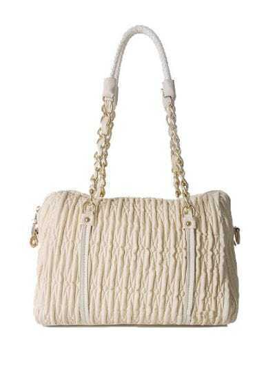 White Solid PU Fold Chain casual Shoulder Bag
