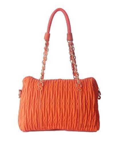 Orange Solid PU Fold Chain casual Shoulder Bag