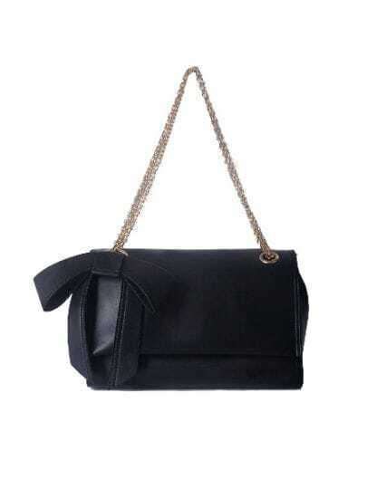 Black Solid Vintage PU Bow Chain Magnetic Shoulder Bag