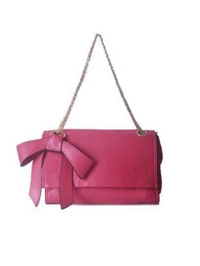 Red Solid Vintage PU Bow Chain Magnetic Shoulder Bag