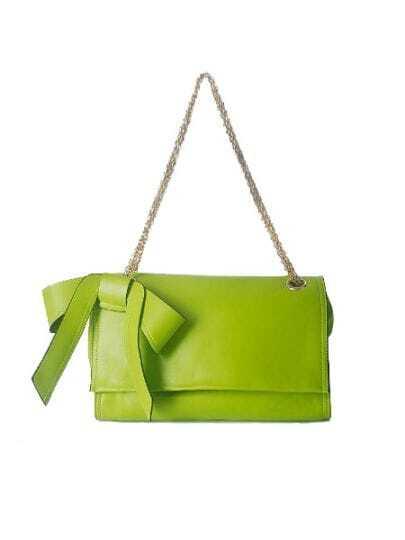 Greed Solid Vintage PU Bow Chain Magnetic Shoulder Bag