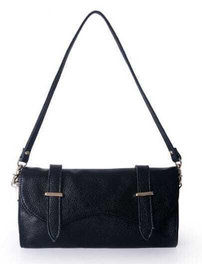 Black Vintage Leather Zipper Casual Shoulder Bag