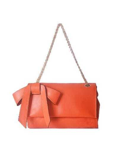Orange Solid Vintage PU Bow Chain Magnetic Shoulder Bag