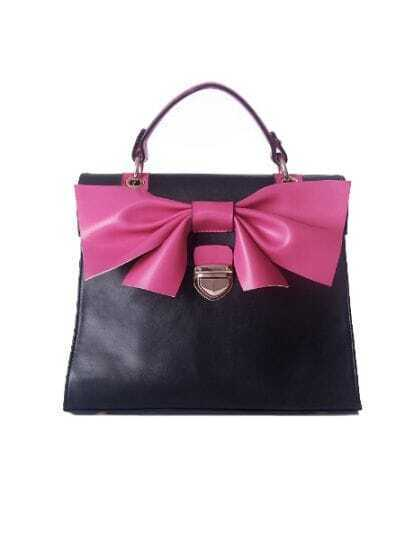 Black Solid Vintage PU Red Bow Casual Tote Bag
