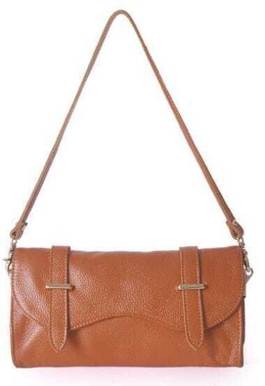 Orange Vintage Leather Zipper Casual Shoulder Bag