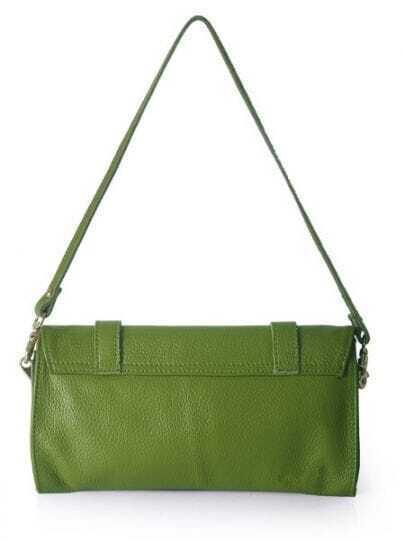 Green Vintage Leather Zipper Casual Shoulder Bag