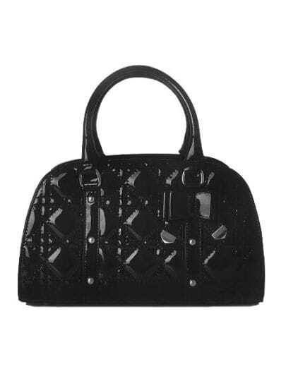 Black Solid Studded Bow Argyle Zipper Tote Bag