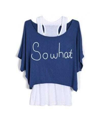 SOWHAT Navy Scoop Neck Batwing Two Pieces T-shirt with Camisole