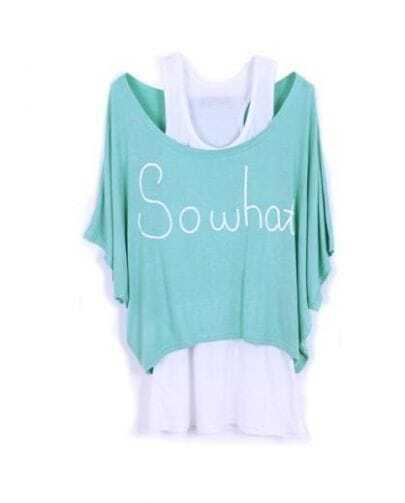 SOWHAT SOWHAT Light Green Scoop Neck Batwing Two Pieces T-shirt with Camisole