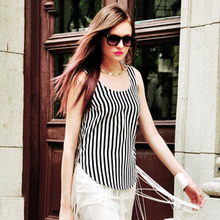 Black White Striped Scoop Neck Cotton Curved Hem Vest