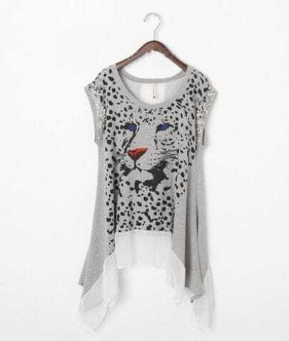 Grey Cheetah Print Cap Sleeve Asymmetric Chiffon Hem Cotton T Shirt