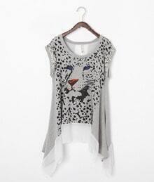 Grey Cheetah Print Cap Sleeve Asymmetric Chiffon Hem Cotton T Shirt