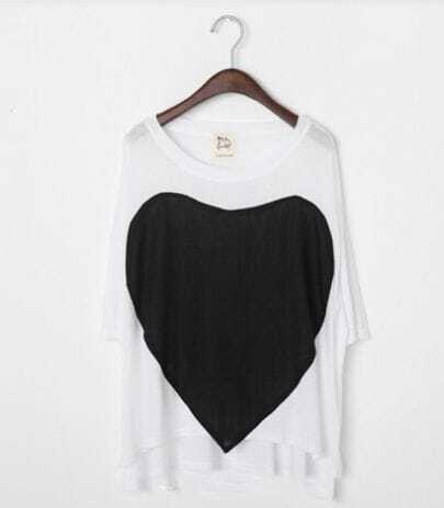 Heart Print Round Neck White and Black Short Sleeve Cotton T Shirt