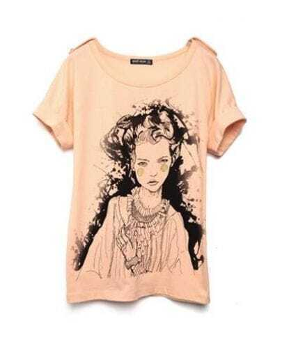 Peach Beauty Girl Round Neck Short Sleeve Cotton T Shirt