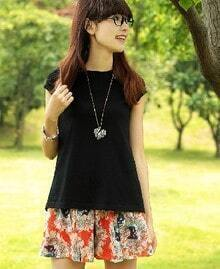 Black Lapel Short Crochet Sleeve Chiffon Back Cotton T Shirt