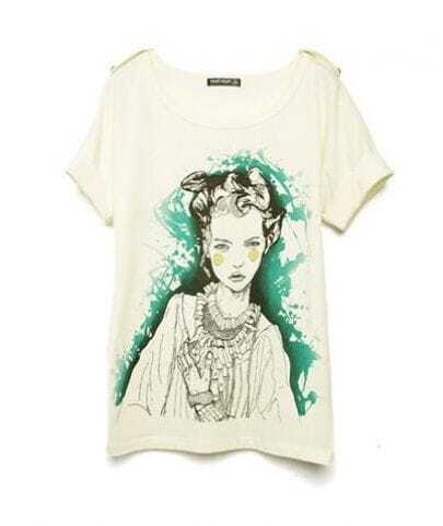 Beige Beauty Girl Round Neck Short Sleeve Cotton T Shirt