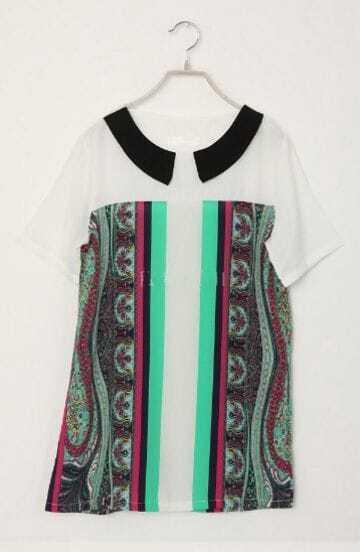 Green Vertical Stripe Contrast Lapel Short Sleeve Chiffon T Shirt