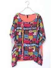 Rose Red Patchwork Print Batwing Cotton T Shirt