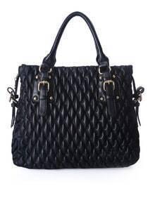 Black Vintage PU Argyle Zipper Casual Tote Bag