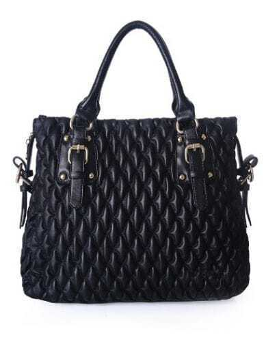Black Vintage PU Argyle Zipper Casual Tote Bag