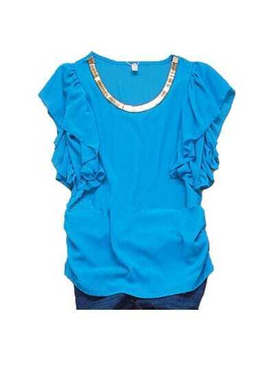 Blue Metal Chain Neckline Ruffle Sleeve Ruched Side Chiffon Blouse