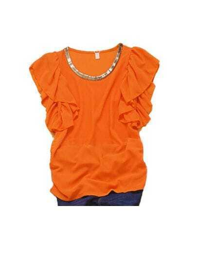 Orange Metal Chain Neckline Ruffle Sleeve Ruched Side Chiffon Blouse