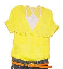 Yellow V-neck Concealed Placket Short Sleeve Chiffon Pockets Shirt