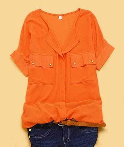 Orange V-neck Concealed Placket Short Sleeve Chiffon Pockets Shirt